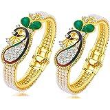 Youbella Pearl & Gold Bracelet Bangle Set For Women