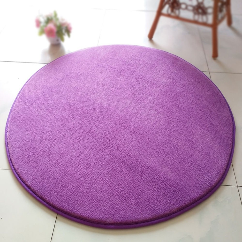 Purple Yoga Children Crawler Pad Round Mat / Solid Chair Chair Computer Chair Swivel Bedside Blanket / Living Room Coffee Table Mat / Bedroom Carpet ( Size : Diameter 200cm )