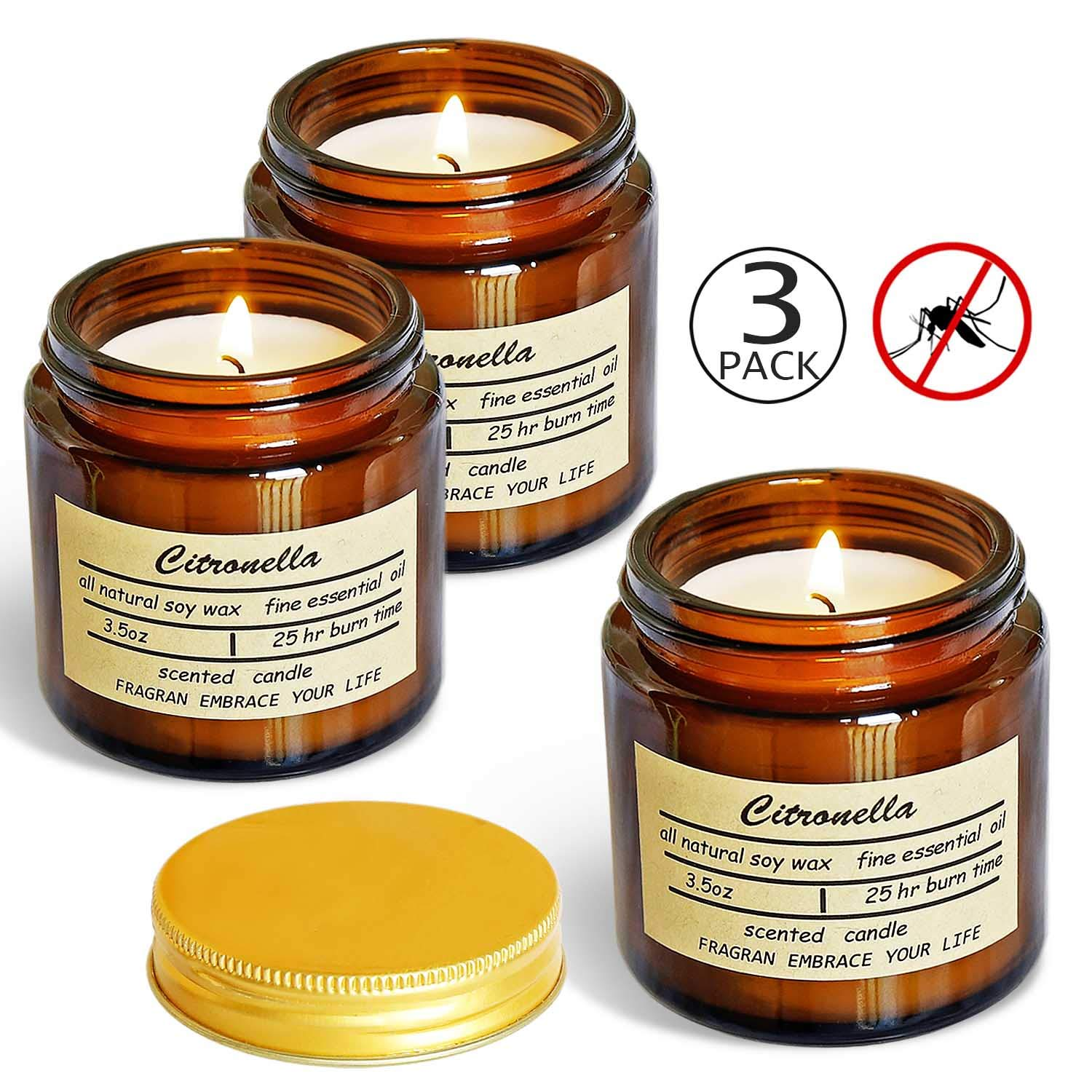 Vanrener Citronella Candles, Jar Candle, Indoor and Outdoor, 25 Hours Burn 100% Soy Wax Glass Candle (3 Pack) by Vanrener