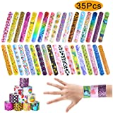 ONESING 35 Pcs Slap Bracelet Party Favors Slap Bands with Colorful Hearts Animal Print Toys Party Favors (35 Designs) Birthday School Classroom Prize for Boys Girls 1.2 x 8.7 Inch