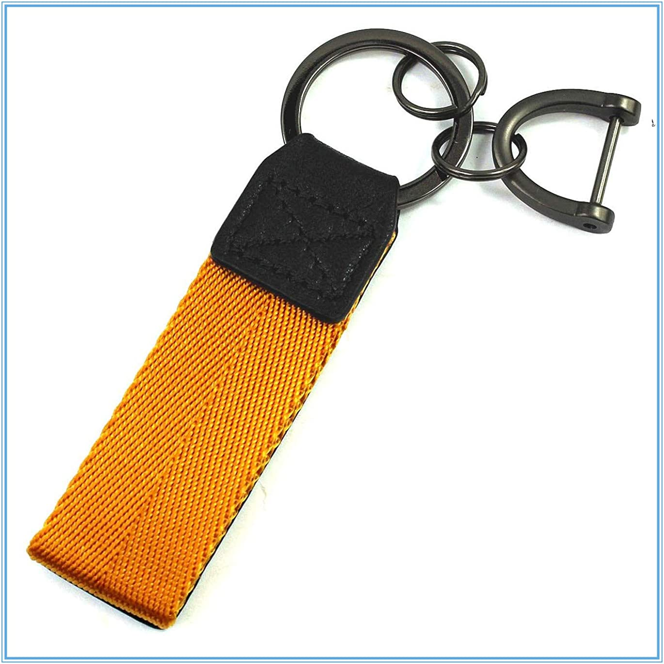 LXFF Genuine Leather Valet Keychain Car Key Chain Key fob Ring for Men Women in Gift Box fit Porsche Mercedes BMW Cadillac Lexus Audi Ford Toyota VW Honda Yellow