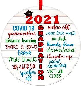 WaaHome 2021 Quarantine Graduation Ornament, High School College Graduation Gifts for Graduates Seniors Her Him, to Remember 2021 Graduation