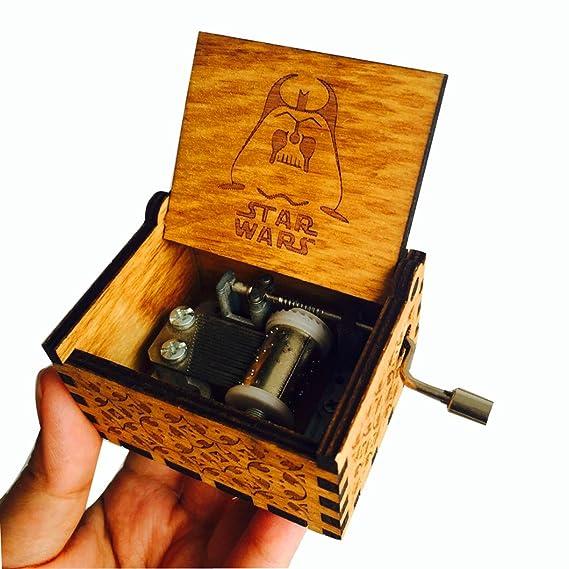 HLZK Star Wars Caja de Música, Mecanismo DE 18 Notas, Antiguo, Tallado de Madera, Cajas Musicales, Manualidades, Castillo de Melodía, Regalo Personalizado ...