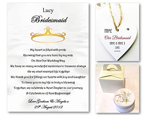 Personalised Bridesmaid Flower Girl Poem Scroll Scented Candle Novelty Heart Gift Tag Set Wedding