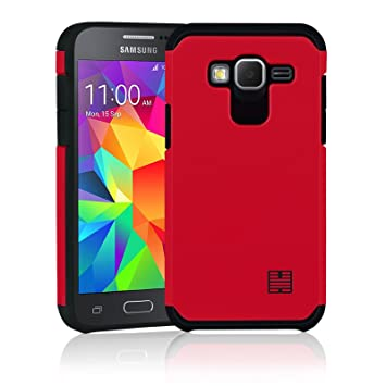 32nd Funda Armadura Rigida Slim Armour con Doble Carcasa para Samsung Galaxy Core Prime - Rojo
