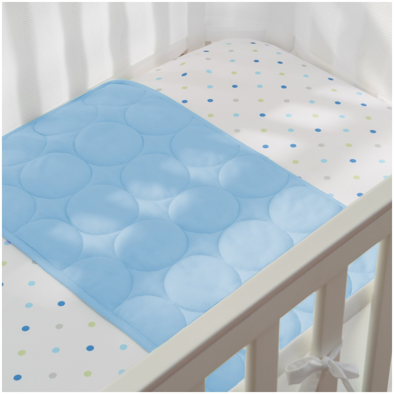BreathableBaby Wick-Dry Plush Sheet Saver- Blue Mist by BreathableBaby