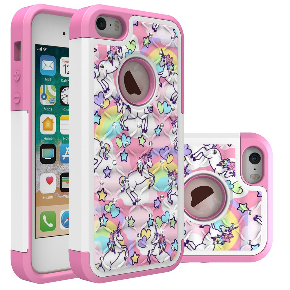 Iphone 5S Case, Iphone SE Bling Case, Rainbow Unicorn Pattern Heavy Duty Shockproof Studded Rhinestone Crystal Bling Hybrid Case Silicone Protective Armor for Apple iphone 5/5s iphone SE