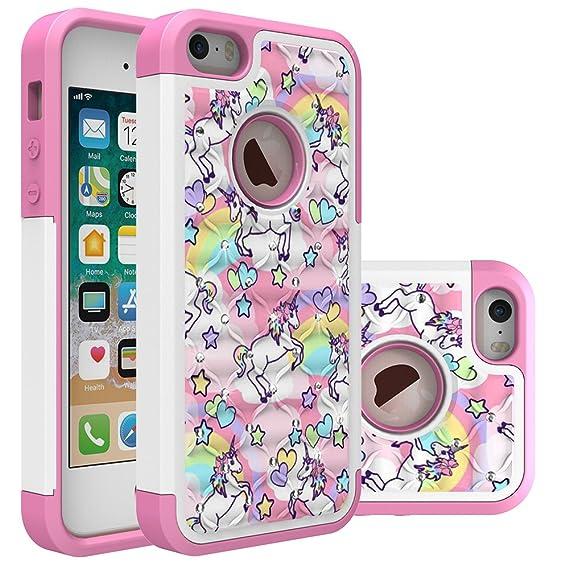 low priced 84c36 80e1e Iphone 5S Case, Iphone SE Bling Case, Rainbow Unicorn Pattern Heavy Duty  Shockproof Studded Rhinestone Crystal Bling Hybrid Case Silicone Protective  ...