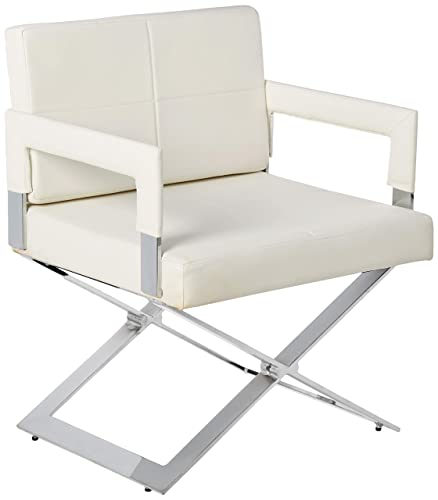 Milan Daphne Oversized X Base Arm Chair, White