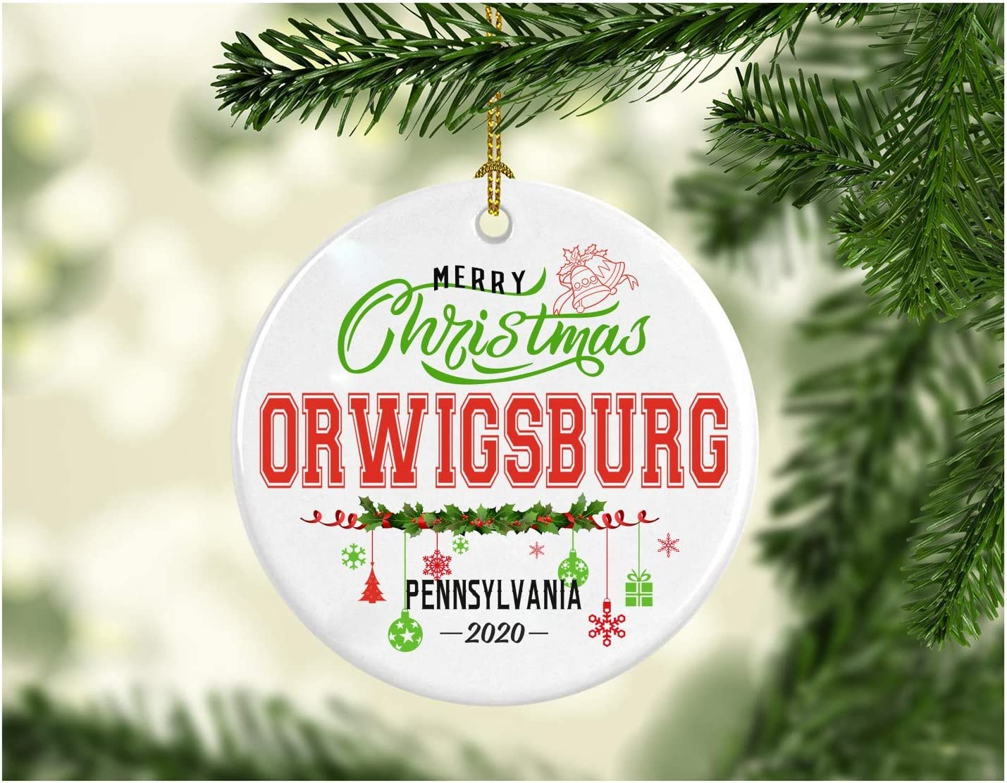 Christmas Decorations Tree Ornament - Gifts Hometown State - Merry Christmas Orwigsburg Pennsylvania 2020 - Gift for Family Rustic 1St Xmas Tree in Our New Home 3 Inches White