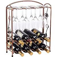 Countertop Metal Wine Racks, Free Standing Wine Bottle Holder Organizer Cabinet Wine Holder Storage Shelf - Hold 8…