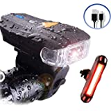 Actionale Mountain Flashlight Waterproof IPX-5, Rechargeable Bike Lights Front and Back, Tail Light Set Sensor 5 Modes LED USB Bright Bike Headlight, Bicycle Lights Front and Rear Taillight, Back Break Cycling Safety Adults Kids