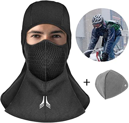 innislink Balaclava Ski Cyclisme Masque Moto Cagoule Coupe Vent Au Chaud Visage Capuche Taille Universelle pour Moto Randonn/ée Camping Ski Temps Froid Noir Cagoule Moto Balaclava
