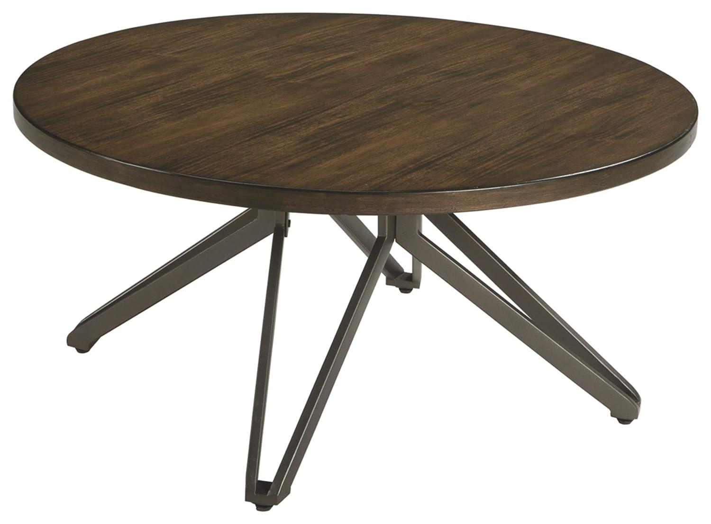 Tavonni Contemporary Round End Table Ashley Furniture Signature Design Brown Black
