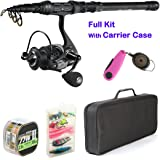 Palm fishing Spinning Rod and Reel Combos - Carbon Fiber Telescopic Fishing Rod with Reel Combo Line Lures Hooks and Fishing Carrier Bag Case Accessories - for Saltwater Freshwater
