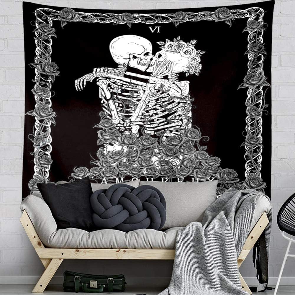 Tapestry Decoraci/ón de Pared para Dormitorio Sala de Estar M 150x130CM GUORUI Tapiz de Calavera Los Amantes de los Besos Tapiz Colgante de Pared En Blanco y Negro Tapiz de Esqueleto Humano