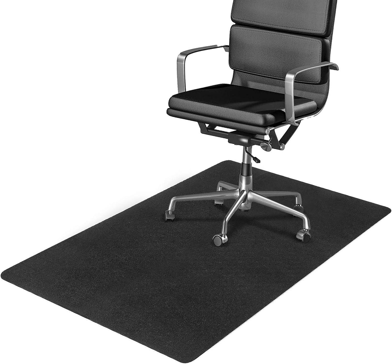 "Office Chair Mat for Hardwood/Tile/Vinyl/Concrete Floor, Under Desk Chair Mats Hard Floor Protector for Rolling Chair, Large Multi-Purpose Rug for Desks, Office & Home, Not for Carpet, 55""x35"", Black"