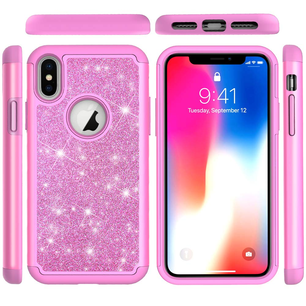 iPhone Xs Case, iPhone X Hybrid Rugged Heavy Duty Shock Absorbtion Drop Resistant Full Body Dual Layers Shockproof Soft TPU Bumper Hard PC Shell Bling Shiny Glitter Diamonds 2 in 1 Cover iPhone Xs
