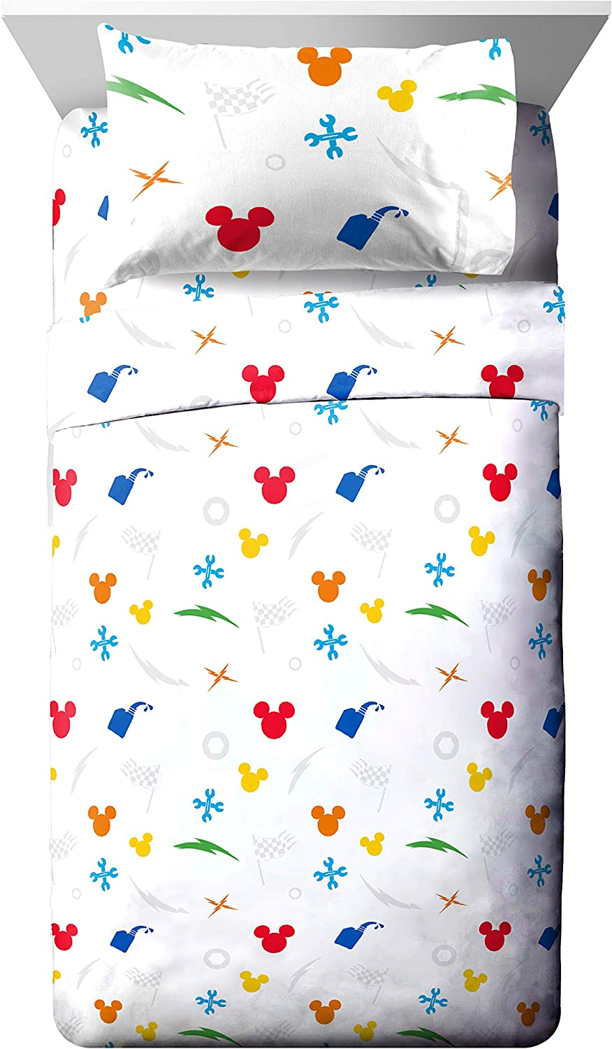 Jay Franco Disney Mickey Mouse Trophy Twin Sheet Set - Super Soft and Cozy Kid's Bedding - Fade Resistant Polyester Microfiber Sheets (Official Disney Product)