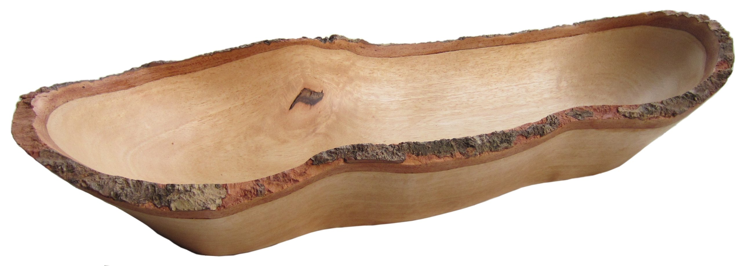 roro Natural Long Tray with Bark Edge Made from Sustainable Wood, 17'' L
