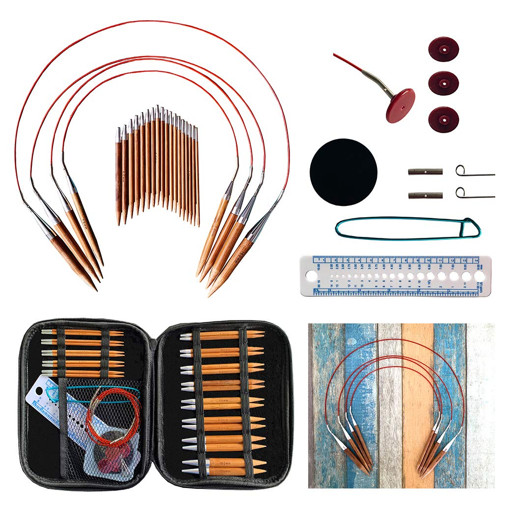 Bamboo Circular Knitting Needles Set with Ergonomic Handles, 13 Sizes/Set Mixed Interchangeable Circular Knitting Needle Weave Yarn Sets with Storage Case for Any Crochet Patterns & Yarns Projects