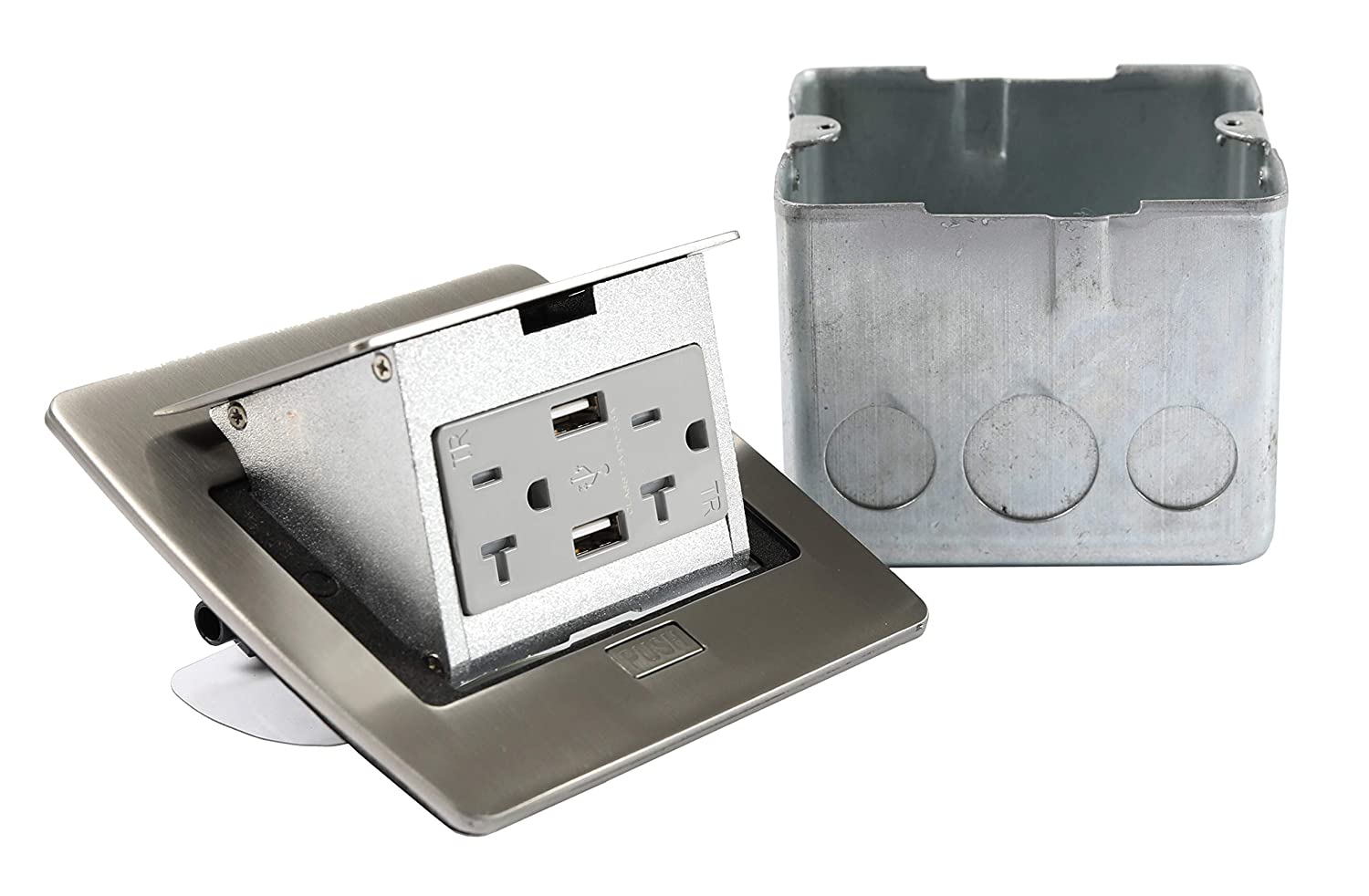 Pop Up w//20A GFI Receptacle Off White Lew Electric PUFP-CT-OW Countertop Box