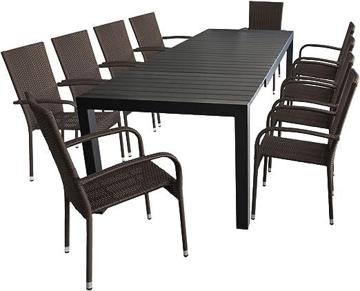 11 piezas. Mobiliario de jardín mesa extensible, marco de aluminio ...