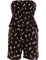 Few24 Damen Overall Partyoverall Jumpsuit Hosenanzug Catsuit Hosen-kleid aus gemustertem Stoff