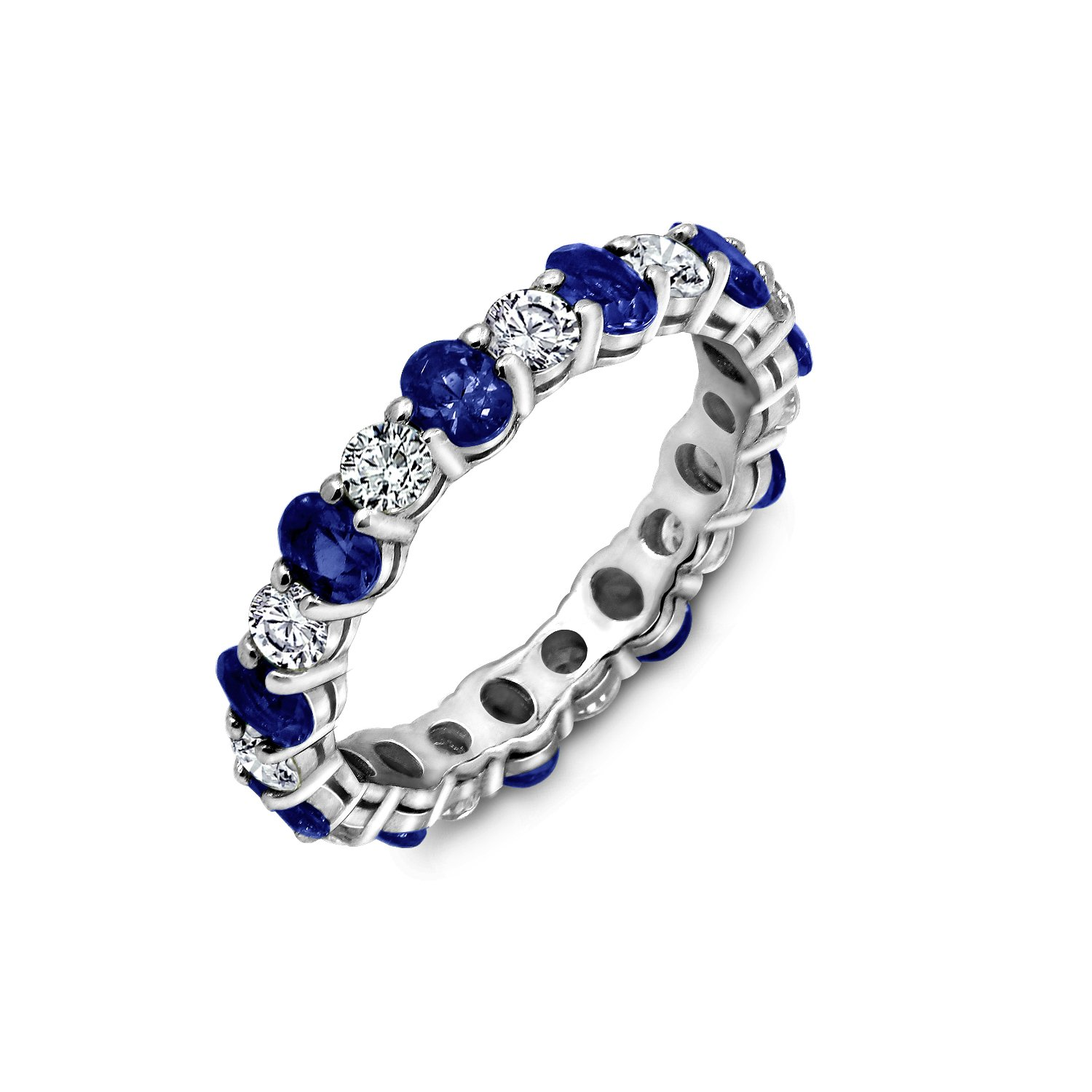 Diamonbliss Sterling Silver Cubic Zirconia Created Gemstone Eternity Band Ring- Sapphire, Size 10