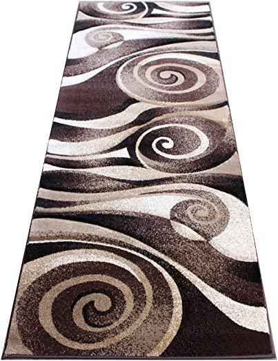 Modern Area Runner Rug 32 Inch X 7 Feet Design S 258 Chocolate