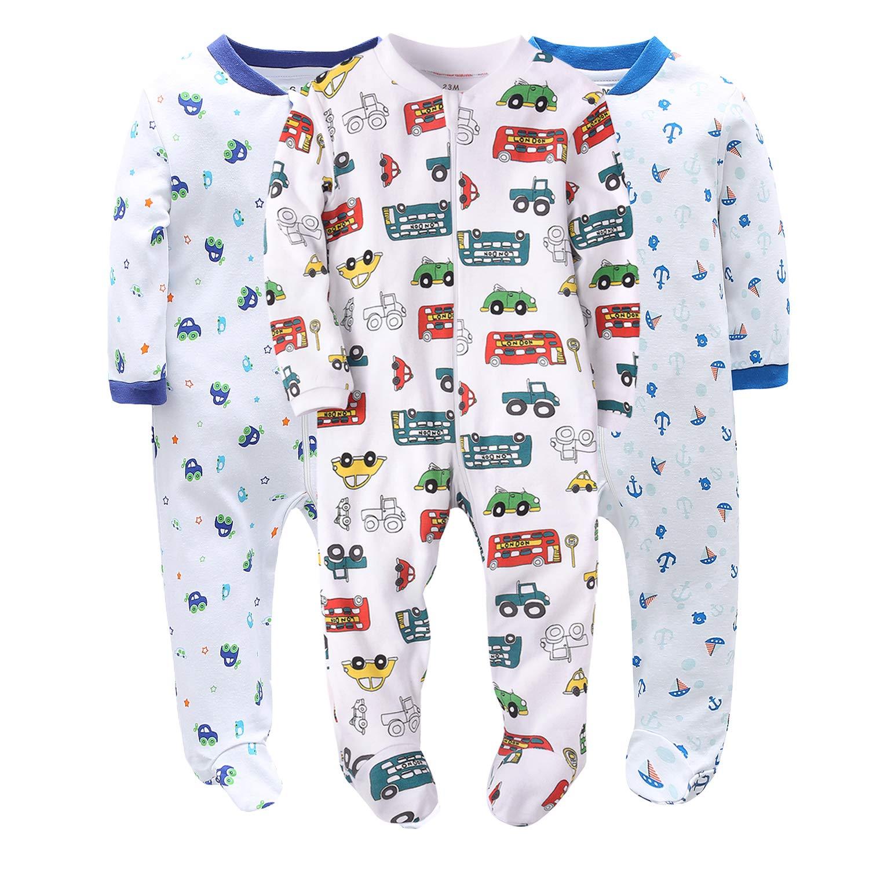 77d97b4671da Marquebaby Baby Girls Boys Footed Pajama - 100 % Cotton Zip Front ...