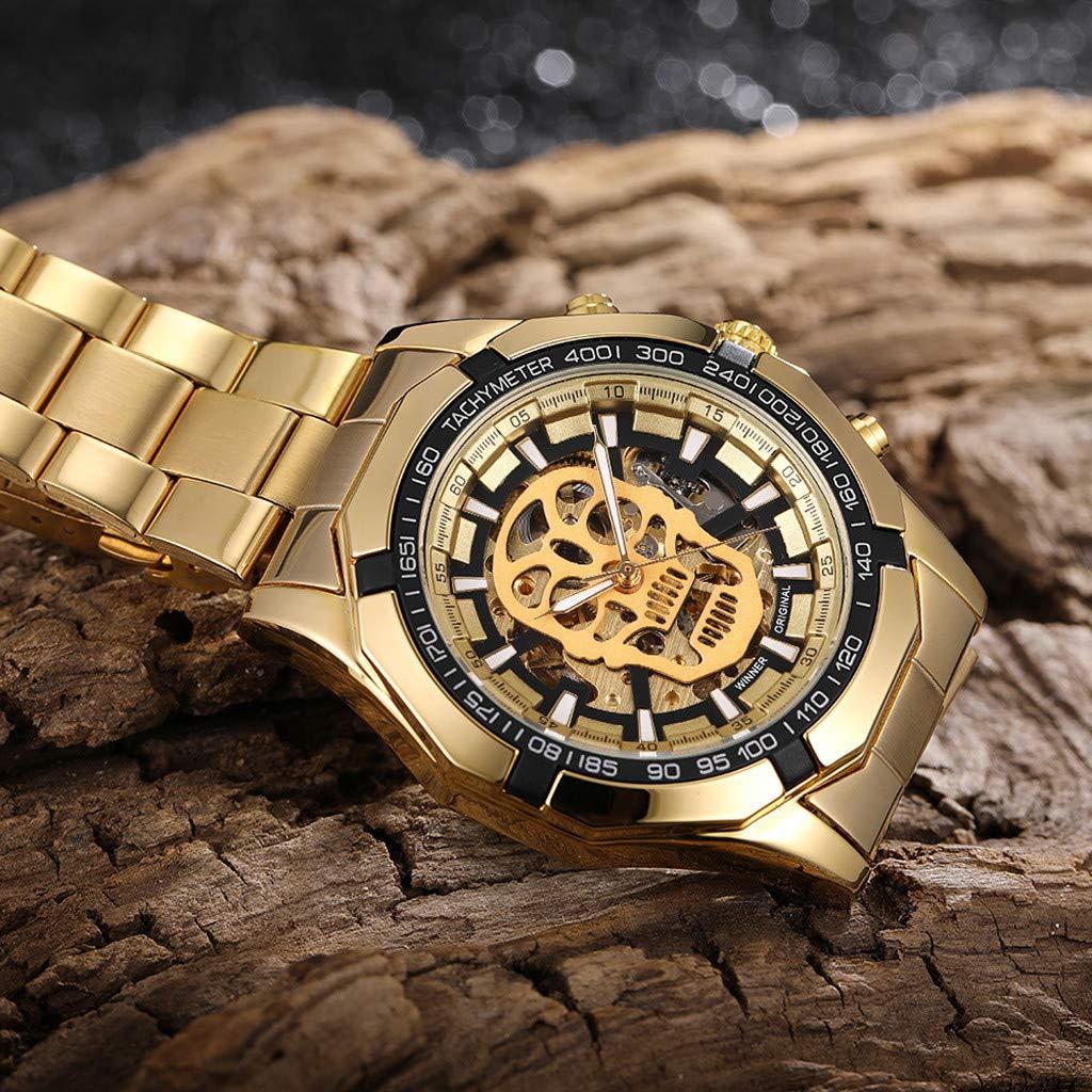 LUXISDE Quartz Watch Mens Digital Wrist Watch Clock Hollow Dial Luxury Design Business Fashion Mens Mechanical Watch by LUXISDE (Image #4)