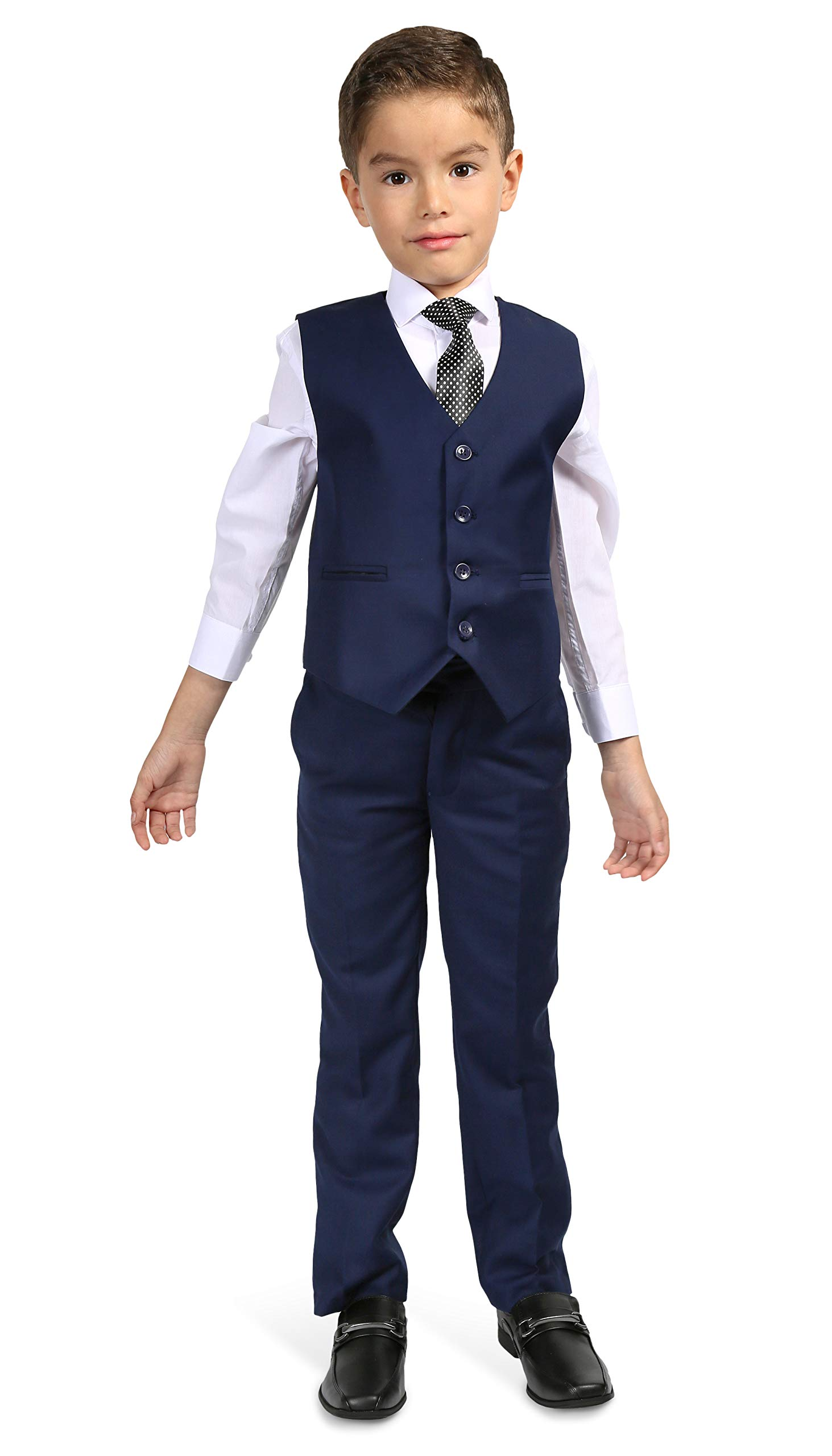 Blazer Jacket-Dress Pants-Vest-Necktie-Shirt Ferrecci Boys 5 Piece Suit Set
