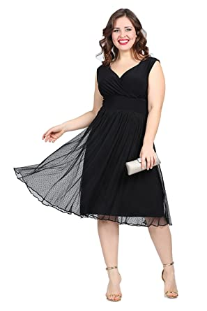 a4f757f94f5 Side Woman s Plus-Size Angelino V Neck Short Sleeve Waist Chiffon A-Line  Party