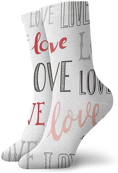Calcetines de mujer cortos de algodón Love Word Tipografia Valentine Pink Red_1069, 100% algodón antideslizante para hombre y mujer, talla única.: Amazon.es: Ropa y accesorios
