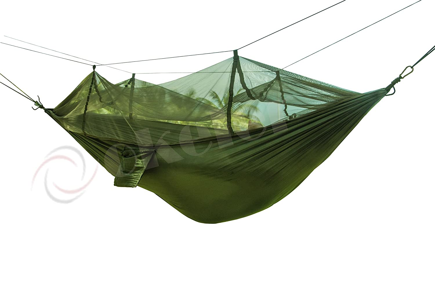 amazon    okeler portable nylon fabric travel camping hammock for double two person with free pen  army green with mosquito     garden  u0026 outdoor amazon    okeler portable nylon fabric travel camping hammock      rh   amazon