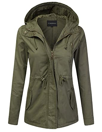 8c95b655440 JJ Perfection Women's Casual Lightweight Cotton Anorak Army Utility Jacket  Olive S