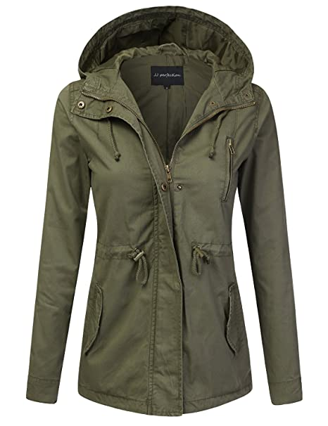 3d8cb7c2c JJ Perfection Women's Casual Lightweight Anorak Army Utility Hoodie Jacket