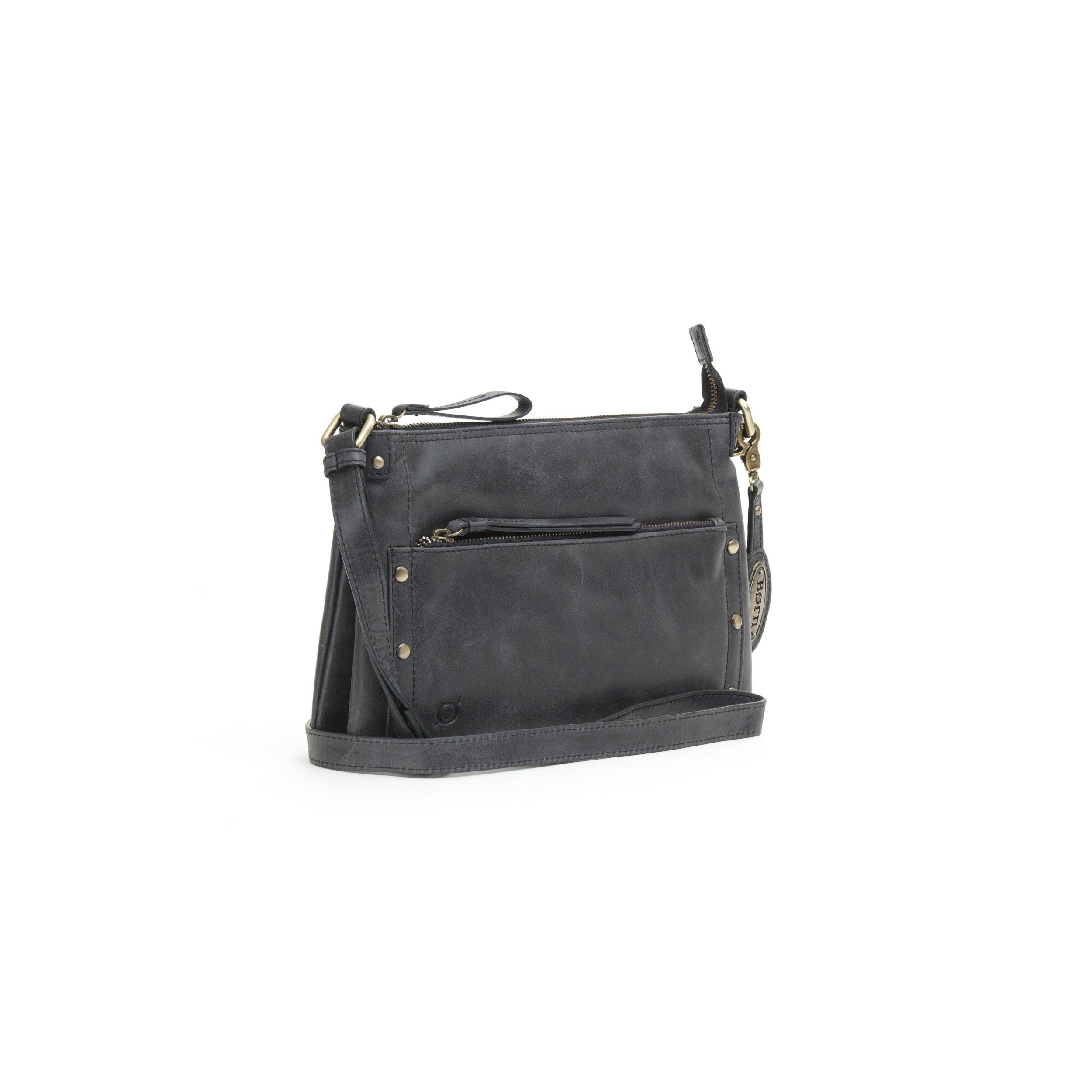Born Womens Nobay/Bronco Hampton Crossbody Distressed Leather Shoulder Bag, Black