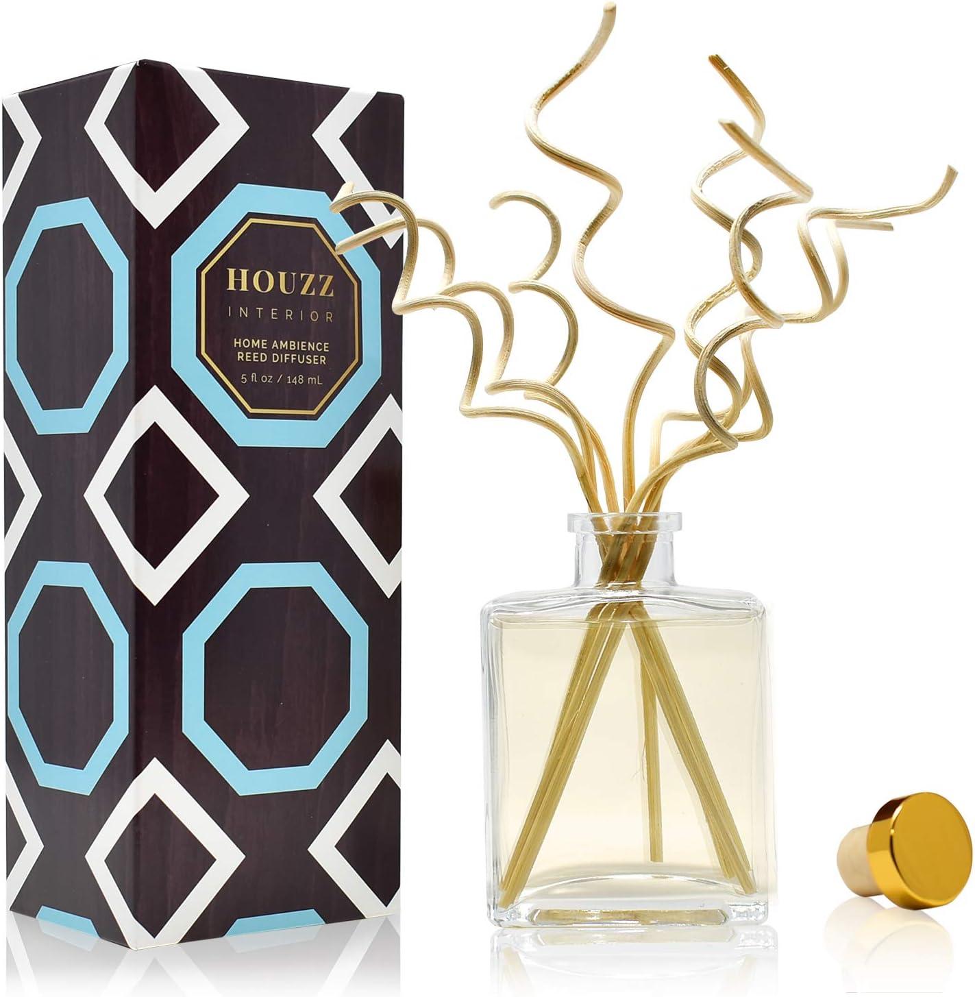 HOUZZ Interior Lemon Verbena Essential Oil Reed Diffuser | Lemon Zest & Verbena Blossoms Blended with Vetiver & Natural Lemongrass | Great Housewarming Gift Idea!