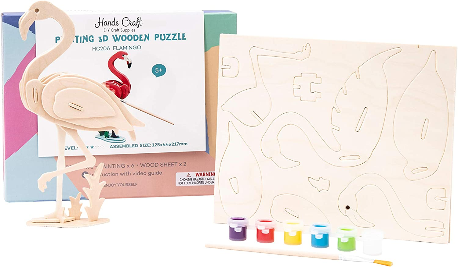 Flamingo Hands Craft DIY Wooden Puzzle with Paint Kit