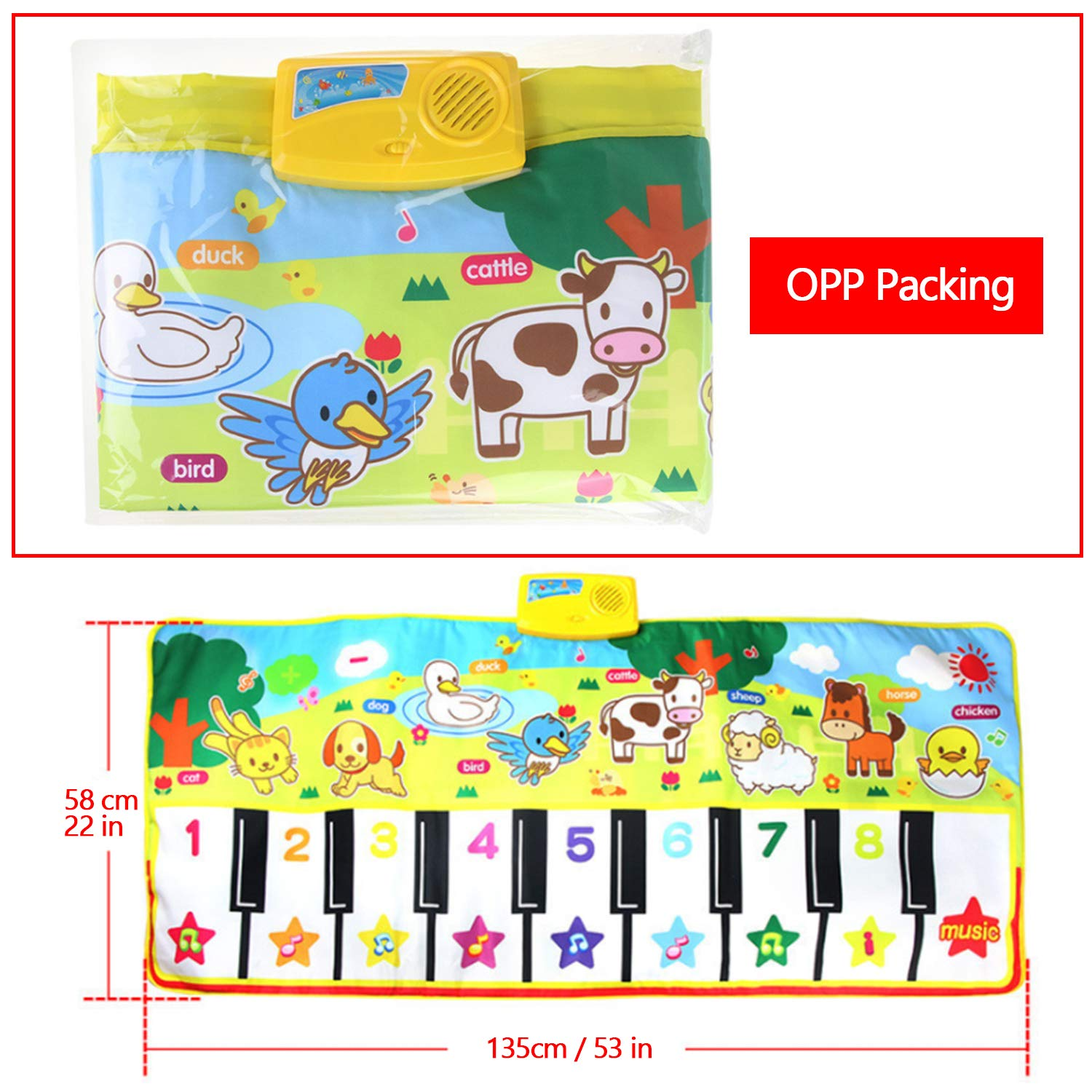 Kids Children Musical Mats, Musical Piano Dance Mat, Animal Carpet Blanket Touch Play Keyboard Playmat with 8 Animals Sounds 16 Musical Keys Educational Toy for Boys Girls Baby Toddler (135 58 cm)