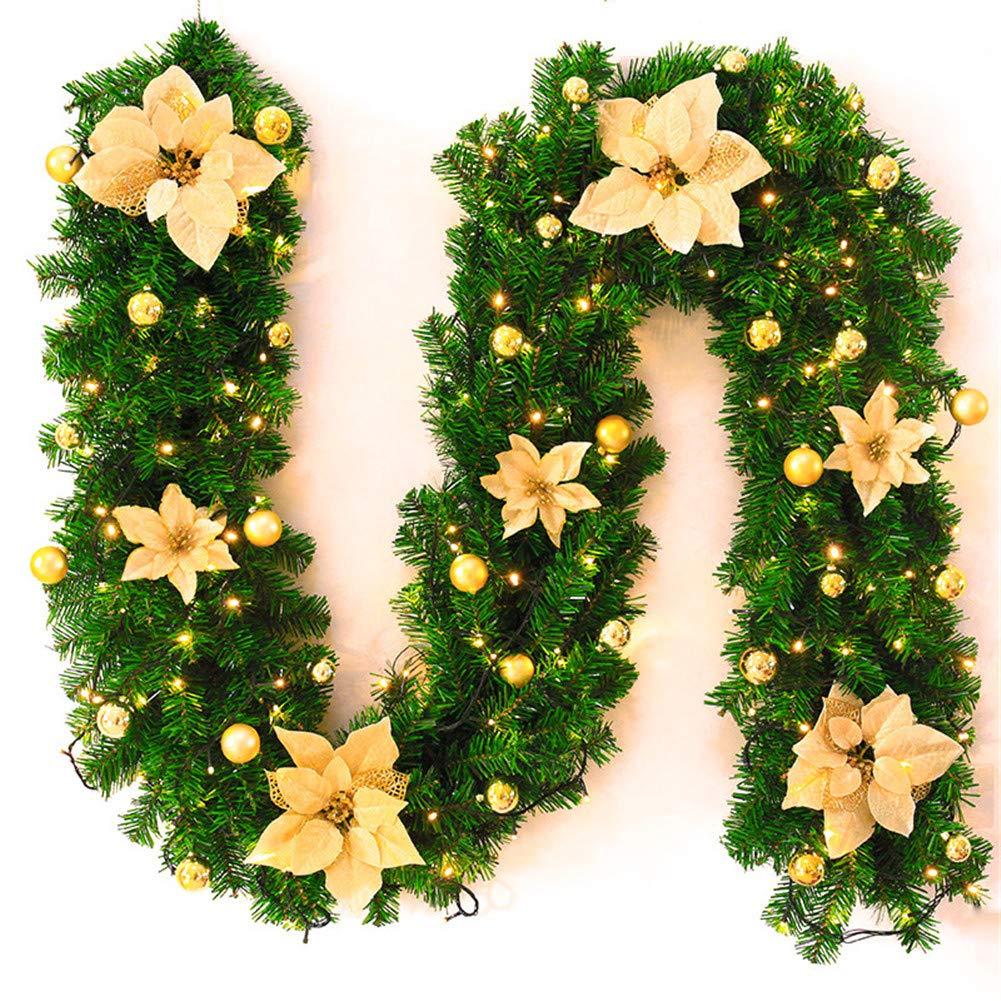Guirnalda de Navidad de 2 guirnaldas de Abeto GLITZFAS Guirnalda de Navidad con LED decoraci/ón de Navidad para Exterior 2,7 Metros de Guirnalda de Abeto para Exterior escaleras Blanco