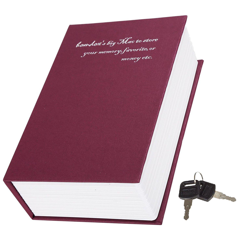 fdegage辞書Diversion Bookセーフボックスメタルセキュリティロックとキー非表示Secret Safe Book 4.5 x 2 x 7inch B074N2Y36W レッド レッド