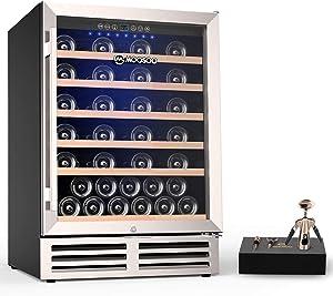 MOOSOO 24 Inch Wine Cooler, 51 Bottle Wine Refrigerator Upgrade Compressor, Intelligent Temperature Memory & Humidity Control Wine fridge, Built-in or Freestanding Wine Cellar, No Fog, Quiet Operation