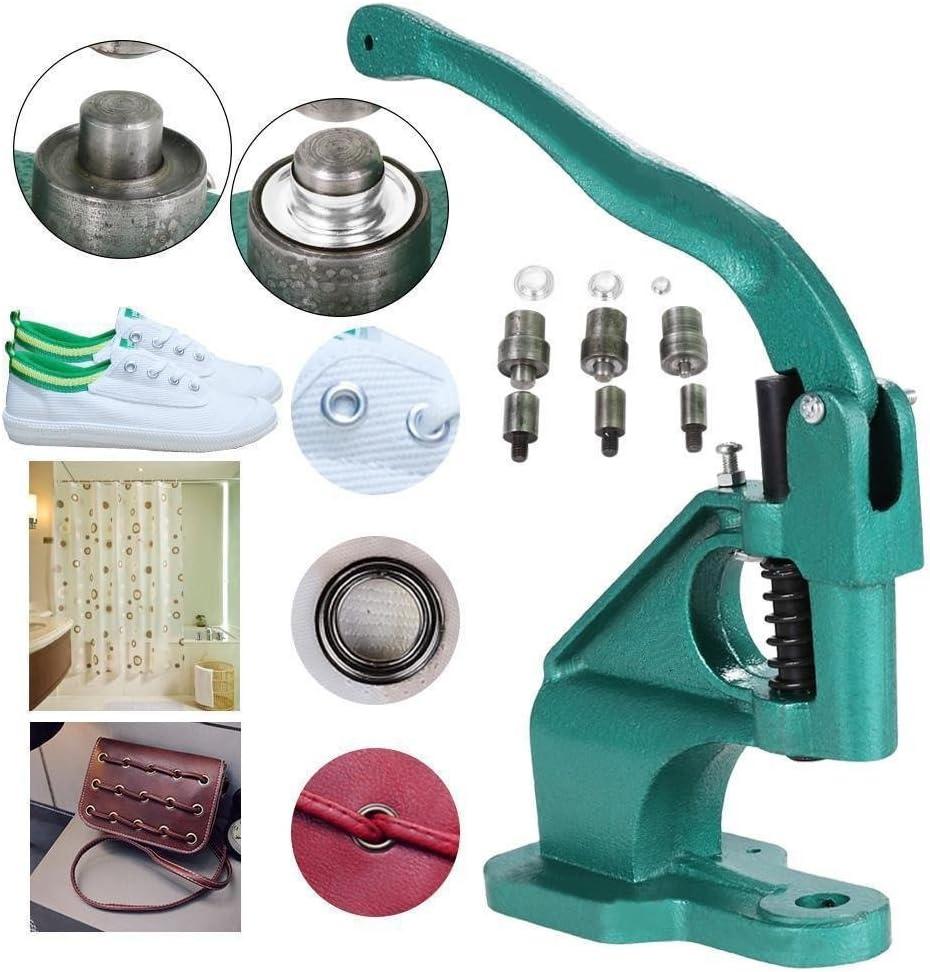 Máquina de ojales de prensa, resistente, 3 troqueles (6 mm/10 mm/12 mm) para máquina de ojales de mano