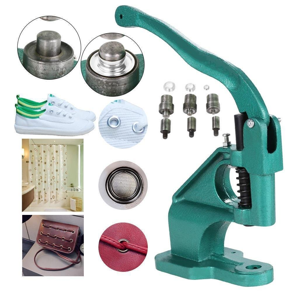 Hand Press Grommet Machine, Heavy Duty 3 Die (6mm/10mm/12mm) Grommet Machine Hand Eyelet Press Hole Punch Tool Zerone