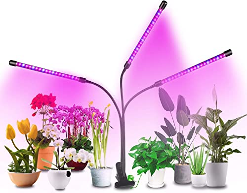 Dr. Prepare Grow Light for Indoor Plants, Tri Head Timing LED Grow Light with Red Blue Spectrum, 6 Dimmable Levels, Adjustable Gooseneck, Auto On Off 3 9 12H Timers, 3 Switch Modes for Indoor Plants