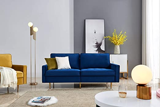 Amazon.com: Navy Blue Velvet Fabric Sofa Couch,JULYFOX 71 Inch Wide Mid Century Modern Living Room Couch 700lb Heavy Duty With 2 Throw Pillows: Kitchen & Dining