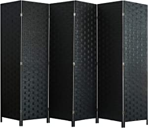 Room Divider and Folding Privacy Screen, Wall Divider with Dual Sides Weaved, 6 Panel Room Screen Divider Separator, Tall Foldable Panel Partition, Extra Wide Panel Screen, Black Privacy Wall Screen